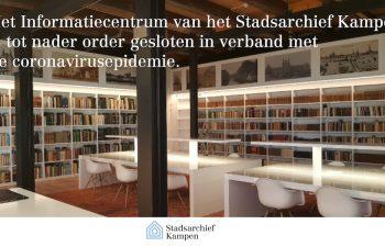 Studiecentrum Stadsarchief Kampen tot nader order dicht